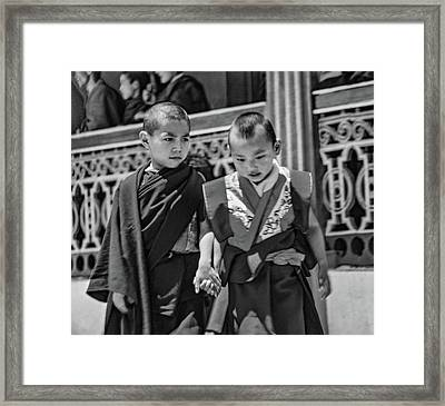 Young Monks - Buddies Bw Framed Print by Steve Harrington