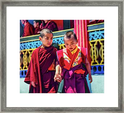 Young Monks - Buddies Framed Print by Steve Harrington