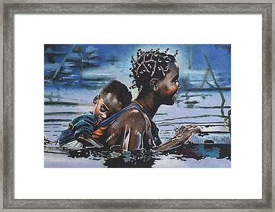 Young Mother And Child Framed Print by Andre Ajibade