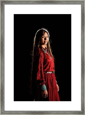 Young Navajo Girl Dressed In Finery Framed Print