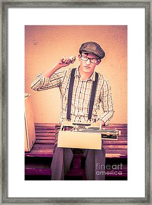 Young Novelist Out Of Ideas Framed Print by Jorgo Photography - Wall Art Gallery