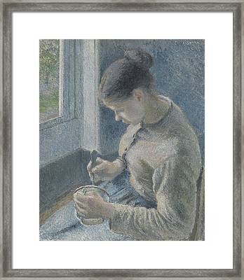 Young Peasant Having Her Coffee Framed Print by Camille Pissarro
