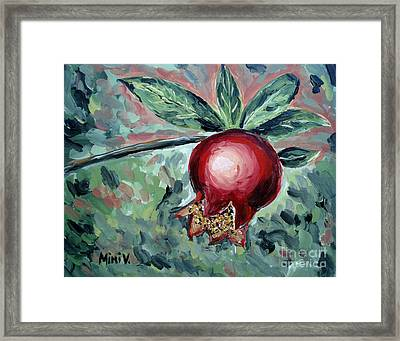 Framed Print featuring the painting Young Pomegranate by Maria Langgle