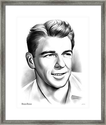 Young Reagan Framed Print by Greg Joens
