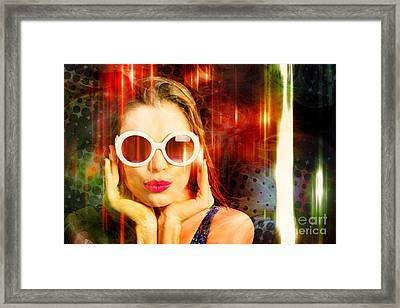 Young Retro Woman Listening To Earphones Framed Print by Jorgo Photography - Wall Art Gallery