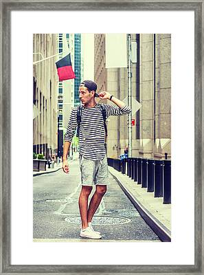 Young Russian Man Traveling In New York Framed Print