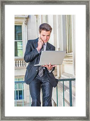 Young School Boy Working Remotely 15042510 Framed Print