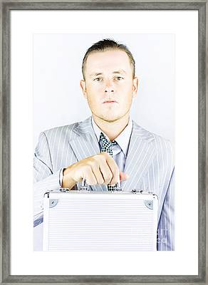 Young Sincere Businessman Framed Print by Jorgo Photography - Wall Art Gallery
