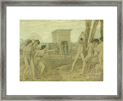 Young Spartan Girls Challenging Boys Framed Print