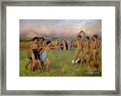 Young Spartans Exercising, By Edgar Degas, Circa 1860,national  Framed Print by Peter Barritt
