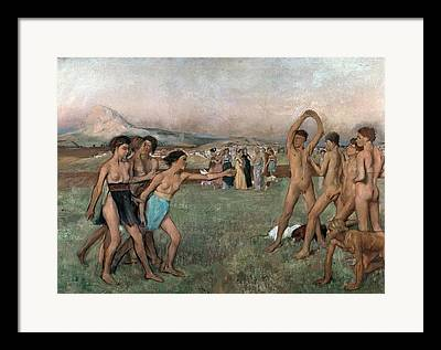 Young Spartans Exercising Framed Prints
