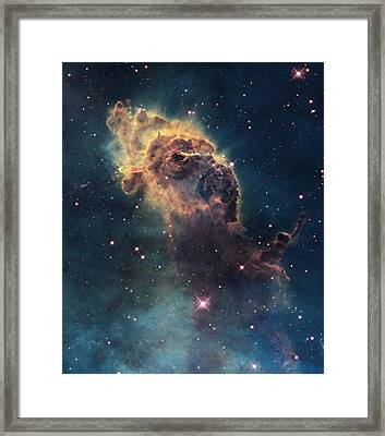 Young Stars Flare In The Carina Nebula Framed Print by Nasa/Esa