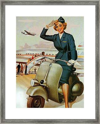 Young Stewardess Salute Us With Small Motorcycle Framed Print