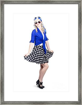 Young Stylish Caucasian Woman Posing For Photo Framed Print