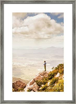 Young Traveler Looking At Mountain Landscape Framed Print