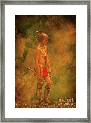 Young Warrior With Warclub Framed Print