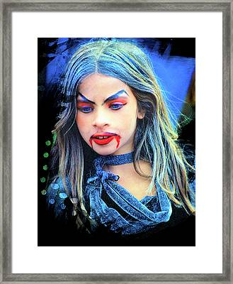 Young Witch With Bloody Lips Framed Print