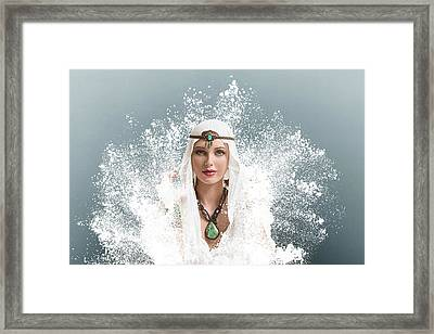 Young Woman Arabic Style Fashion Look Framed Print by IPolyPhoto Art