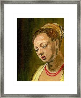 Young Woman Framed Print by Asha Sudhaker Shenoy