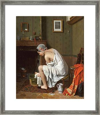 Young Woman At Her Toilet Framed Print by Alphonse Roehn