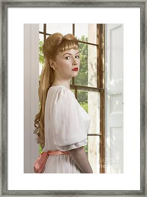 Young Woman At The Window Framed Print by Amanda Elwell