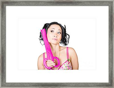 Young Woman Barber Holding Large Pink Scissors Framed Print