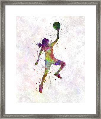Young Woman Basketball Player 02 In Watercolor Framed Print by Pablo Romero