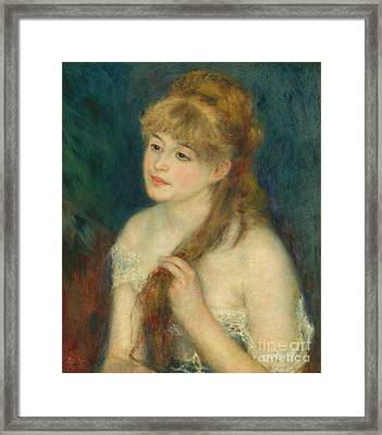 Young Woman Braiding Her Hair - Auguste Renoir Framed Print by Pod Artist