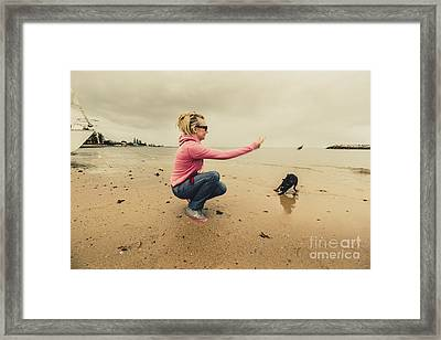 Young Woman Exercising Her Dog At The Beach Framed Print by Jorgo Photography - Wall Art Gallery