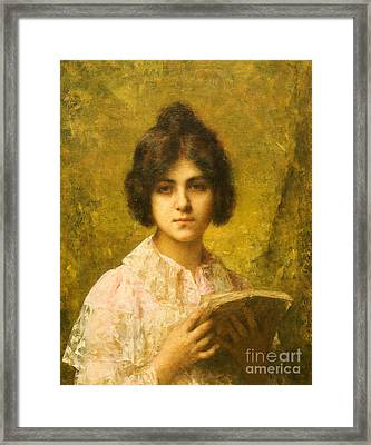 Young Woman Holding A Book Framed Print by Alexei Alexevich Harlamoff