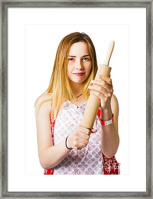 Young Woman Holding Rolling-pin Framed Print by Jorgo Photography - Wall Art Gallery