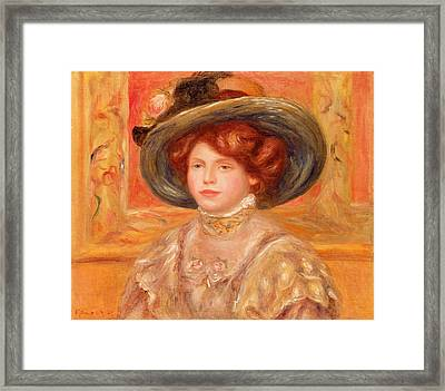 Young Woman In A Blue Hat Framed Print
