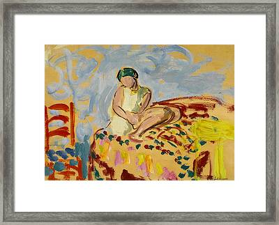 Young Woman In A Green Turban Framed Print by Henri Lebasque