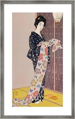 Young Woman In A Summer Kimono Framed Print by Goyo Hashiguchi