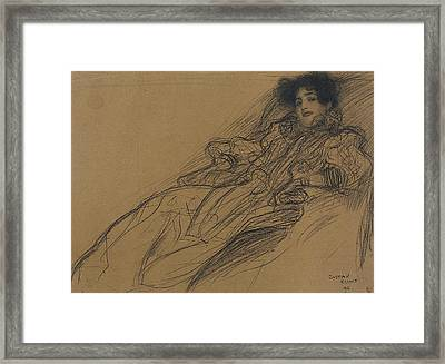Young Woman In An Armchair Framed Print by Gustav Klimt