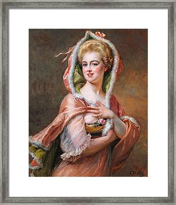 Young Woman In Cape Framed Print by Cesare Detti