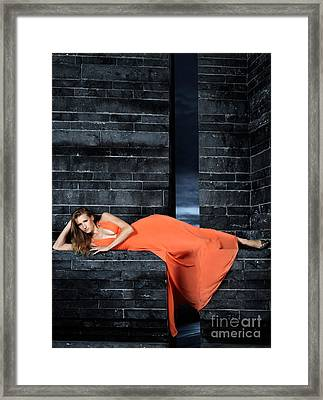 Young Woman In Long Orange Dress Framed Print by Oleksiy Maksymenko