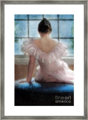 Young Woman In Pink Ruffled Dress Framed Print