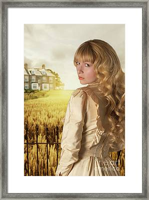 Young Woman Looking Back Framed Print