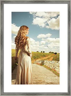 Young Woman On Bridge Framed Print