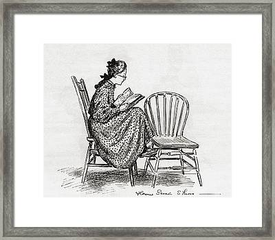 Young Woman Reading In The Nineteenth Framed Print by Vintage Design Pics