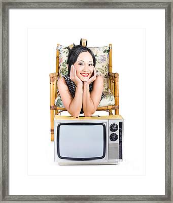 Young Woman Resting On Old Retro Tv Framed Print