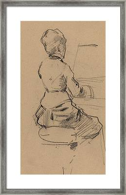 Young Woman Seated At A Piano Framed Print by Jean Louis Forain