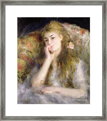 Young Woman Seated Framed Print by Pierre Auguste Renoir