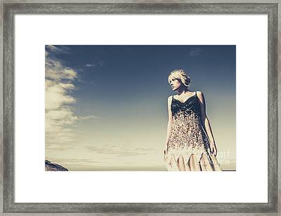 Young Woman Standing On The Beach Framed Print