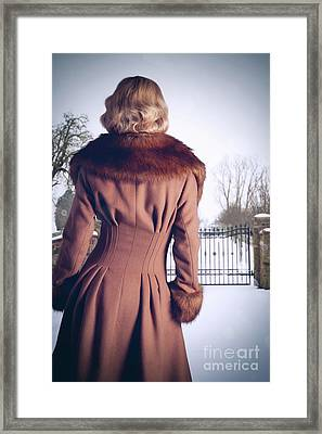 Young Woman Wearing Coat Framed Print