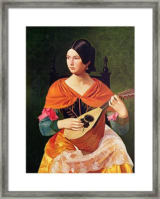 Young Woman With A Mandolin Framed Print by Vekoslav Karas