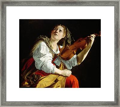 Young Woman With A Violin Framed Print by Orazio Gentileschi