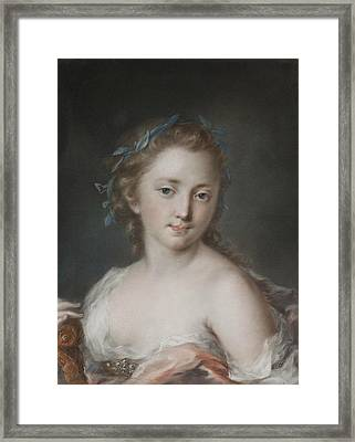 Young Woman With A Wreath Of Laurels Framed Print by Rosalba Carriera