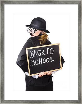 Young Woman With Chalk Board Framed Print